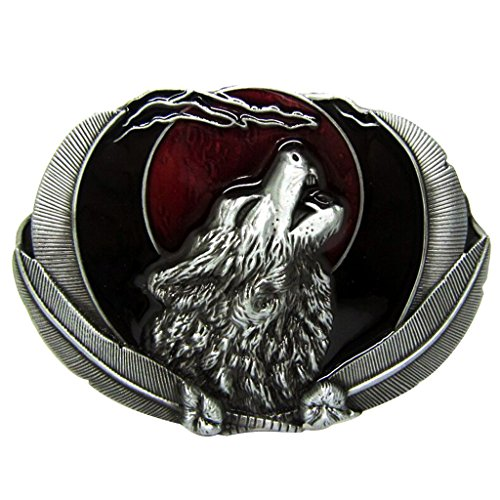 Prettyia Vintage Animal Lover Horse Rodeo for Man Egraving Cowboy Belt Oval Buckle - Wolf Pattern 8.9x7cm