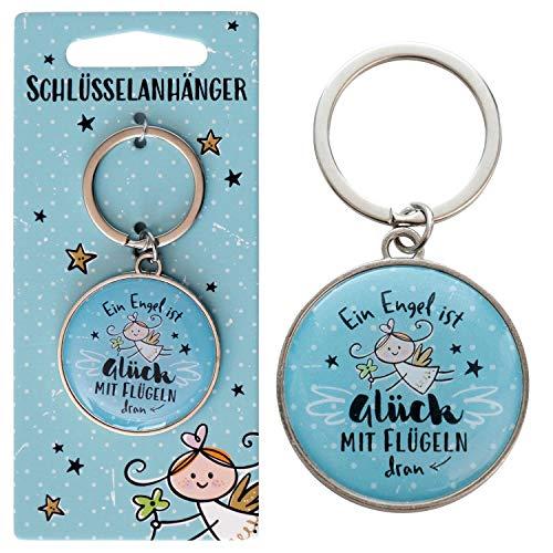 Die Geschenkewelt Happy Life 46150 Schutzengel, Geschenk Engel, Hellblau Schlüsselanhänger, Metall, Epoxy Harz Sticker, Pappe, 3.9 cm