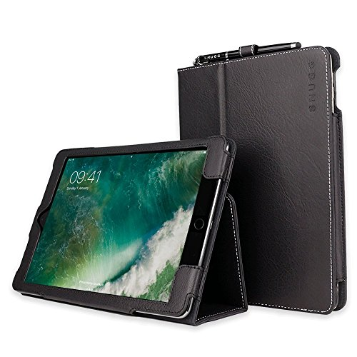 """Snugg iPad Air 3 (2019) / iPad 10.2"""" (8th & 7th Gen) / iPad Pro 10.5"""" Leather Case, Flip Stand Protective Cover - Blackest Black"""