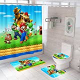 4 Pcs Super Bros. Shower Curtain Set with Non-Slip Rugs for Bathroom Decor, Toilet Lid Cover and Bath Mat, Shower Curtain with 12 Hooks,