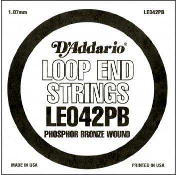 D'Addario LE042PB, cuerda individual de bronce fosforado con terminación de lazo.042