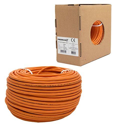 PremiumX 100m CAT.7 Verlegekabel Netzwerkkabel S/FTP PIMF 1000 MHz Installationskabel 4x2xAWG23 LAN Kabel Verkabelung CAT7 CAT 7 Datenkabel bis zu 10 Gigabit Ethernet orange