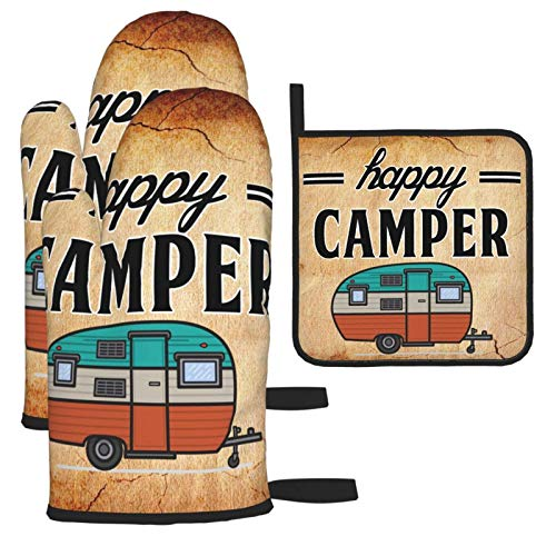 Opiadco Happy Camping Campers Oven Mitts and Pot Holders Set Oven Gloves Heat Resistant Hot Pads Non Slip Insulated Washable BBQ Gloves for Kitchen Cooking Baking Grilling