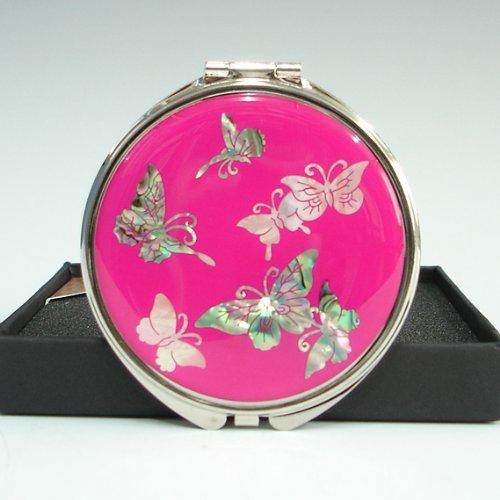 Miroir de Poche Maquillage Poudrier Grossissant Nacre Métal Asie ROSE BONBON