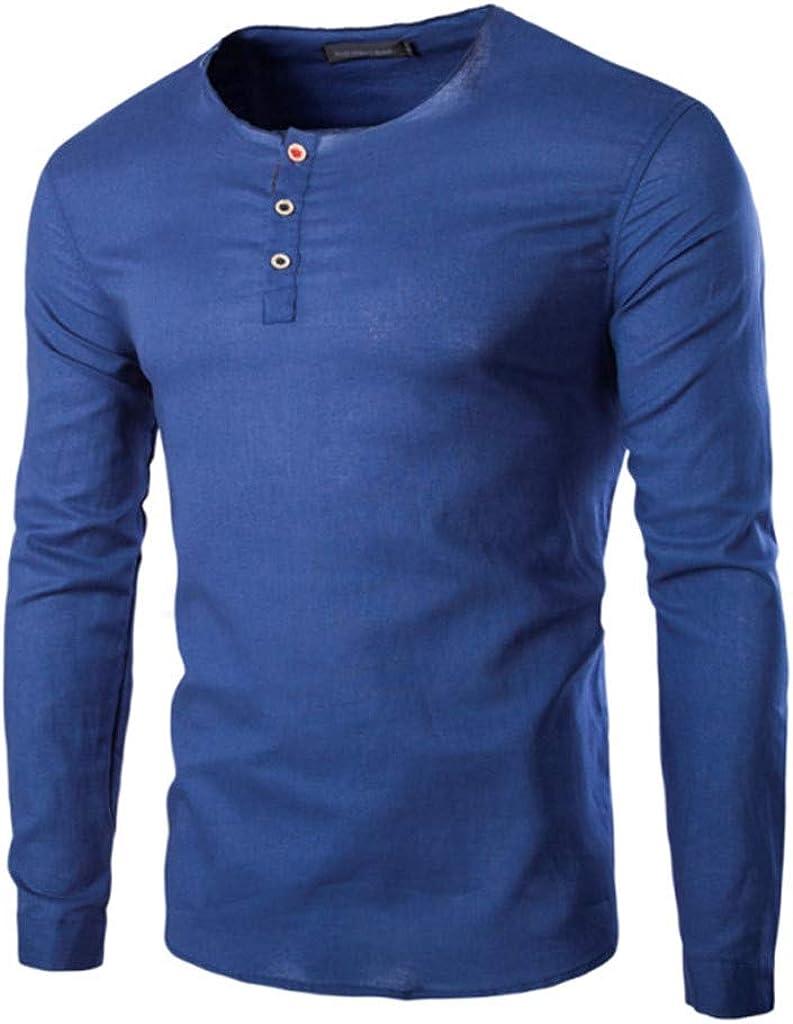 Gergeos Henley T-Shirt Men's Standard-Fit Cotton T-Shirt Autumn Casual Shirts Long Sleeve Shirt for Men
