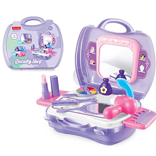 Niños Juego de imaginación Makeup Vanity Case con Espejo Cosmetic Toy Set Pretend Beauty Dress-up Salon secador de Pelo Maleta para niñas pequeñas niños pequeños 1 Juego de 19 Piezas