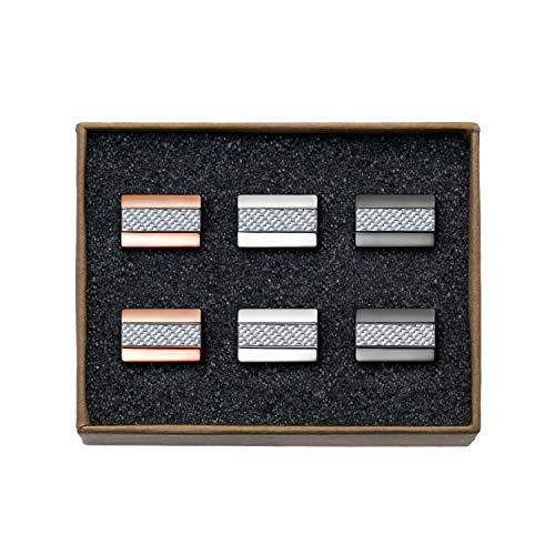 """VALDERO® Herren Manschettenknöpfe -""""Premium Carbon"""" in Box (3 Paar - Silbernes Carbon)"""