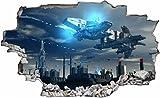 DesFoli Raumschiff Aliens 3D Look Wandtattoo 70 x 115 cm
