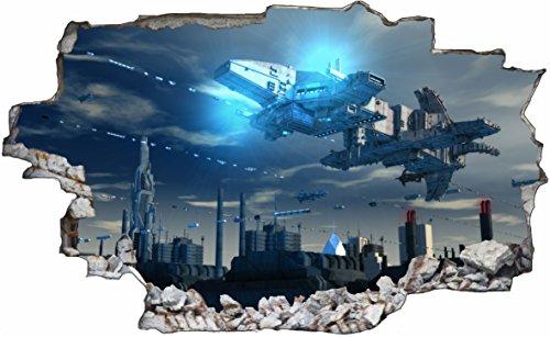 DesFoli Raumschiff Aliens 3D Look Wandtattoo 70 x 115 cm Wanddurchbruch Wandbild Sticker Aufkleber C526