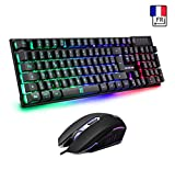 Clavier Gamer AZERTY - Haute Performance - Semi-Mécanique - 3 Mode Éclairé Chromatique RGB + 3200DPI Souris gamer + Souris tapis