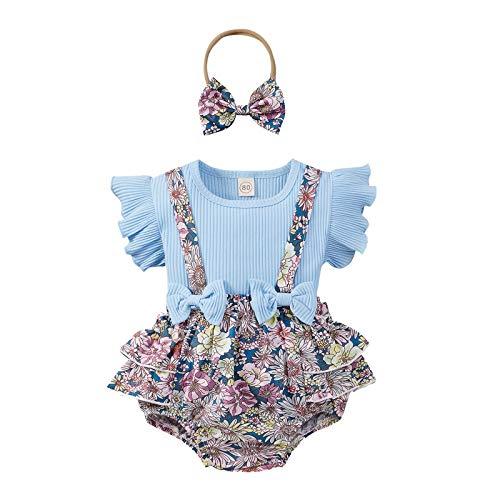 Hungryme Niña Verano Vestido Vestido Princesa Bebé 0 - 18 Meses, Top Color Sólido Mangas Voladoras Volantes + Shorts Tirantes Estampado Floral (Azul, 6-9 meses)