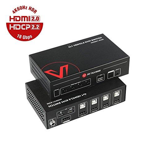 UltraHD KVM Switch HDMI 2.0 4 Port, 4K@60Hz/30Hz YUV444...