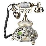 ASHATA Teléfono Fijo Retro, Teléfono Vintage Europeo con Cable FSK/DTMF Teléfono de Nostalgia,Teléfono Fijo Clásico Europeo Retro de Escritorio con Pantalla LCD,para Sala de Estar en El Hogar