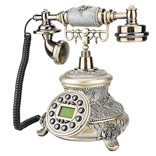 sjlerst Teléfono Fijo,Teléfono Fijo Retro,Teléfono de Nostalgia,Teléfono Vintage Europeo con Cable FSK/DTMF,Teléfono Fijo Clásico Europeo Retro de Escritorio,para Sala de Estar en El Hogar