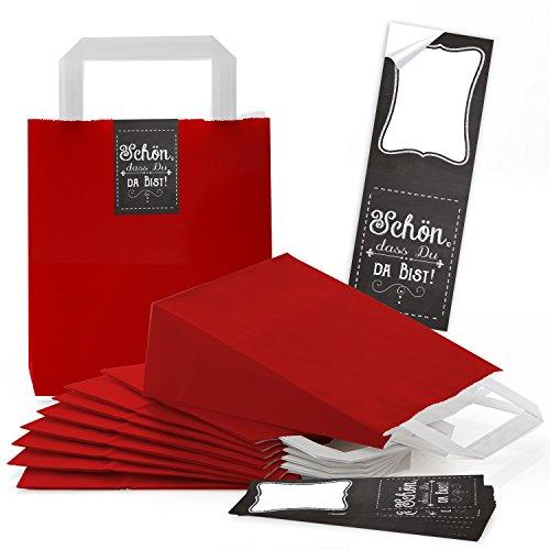 25petites poches Sacs Papier papier avec fond et anse rouge (18x 8x 22cm) + 25banderolen autocollants (5x 15cm) Belle que tu es là Tableau craie Vintage aussi comme Noël peut