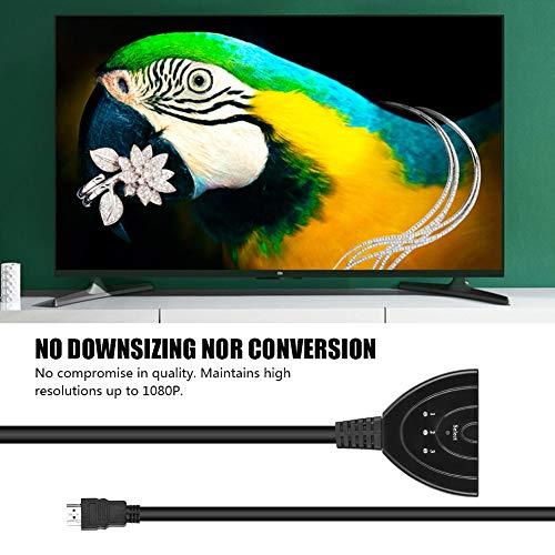 AMONIDA Conmutador HDMI 1080P, conmutador HDMI Divisor, Negro, 3 en 1, convertidor de Salida de Cable, Adaptador de señal Dividida, conmutador 1080P para Consola de Juegos PS3 para Xbox360