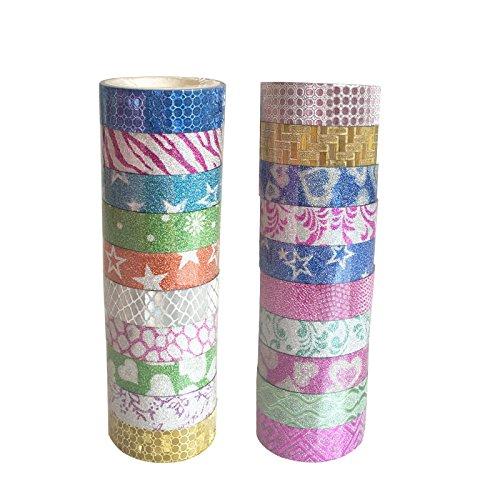 fablcrew decorative cinta adhesivas Glitter cinta adhesiva cinta enmascarar acuarelas papel mallas decorativo scrapbooking Accesorios para DIY Scrapbook Decoración Artisans artisanaux