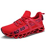 UMYOGO Women's Lightweight Casual Walking Athletic Shoes Breathable Mesh Work Slip-on Sneake Red, Red Black, 8 US