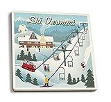 Lantern Press Vermont - Retro Ski Resort (Set of 4 Ceramic Coasters - Cork-Backed, Absorbent)