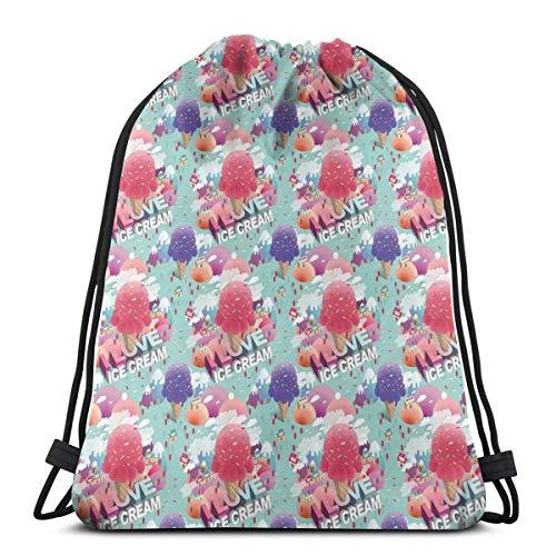 LLiopn Drawstring Sack Backpacks Bags,Modern I Love Ice Cream Quote Dream Land for Girls Boys Graphic,Adjustable.,5 Liter Capacity,Adjustable.