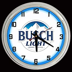 ELG Companies LLC 16 Busch Light Beer Sign Blue Neon Wall Clock Garage Man Cave