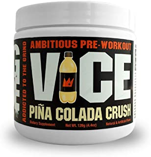 GCode VICE Ambitious Pre-Workout- Clean Energy, Intense Pumps, Power & Endurance - 15 Servings (Pina Colada Crush)