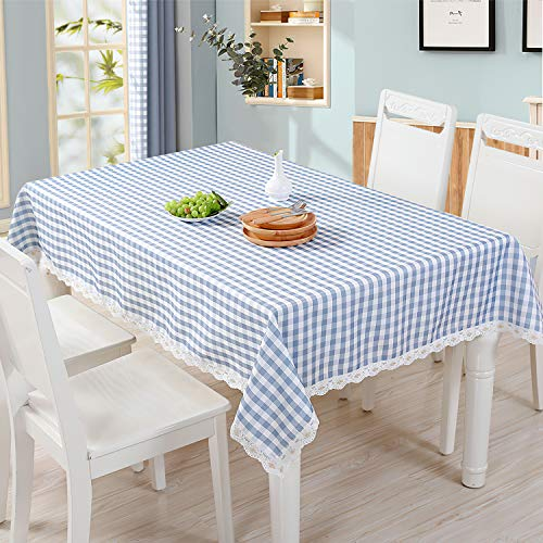 QUANHAO Mantel Rectangular antiincrustante, Mantel Impermeable, Mantel de algodón poliéster decoración a Prueba de Polvo, Utilizado para mesas cuadradas y Redondas (Azul, 110x160cm)