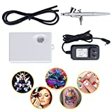 Airbrush Makeup Kit,Fy-Light Airbrush Compressor With 0.4mm Needle Airbrush Spray Gun for Face, Nail, Temporary Tattoos, Cake Decorating,Modeling (White)