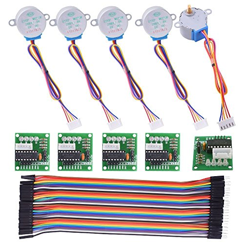 Kuman Stepper Motor Compatible with ArduinoIDE 5 sets 28BYJ-48 ULN2003 5V Stepper Motor + ULN2003 Driver Board + Dupont Wire 40pin Male to Female Breadboard Jumper Wires Ribbon Cables K67