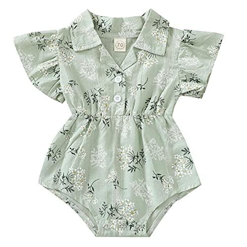 L&ieserram Floral - Vestido de niña con estampado de flores y hojas, de manga corta con encaje y cuello de botones como camisa, primavera, verano, otoño Verde 12-18 Meses