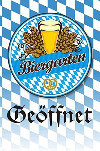 FS Bier Biergarten Geöffnet Bayern Blechschild Schild gewölbt Metal Sign 20 x 30 cm