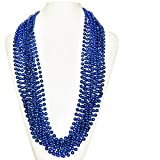 (72 Pack) 33' Inch Round Metallic Mardi Gras Party Necklace Beads (Blue)