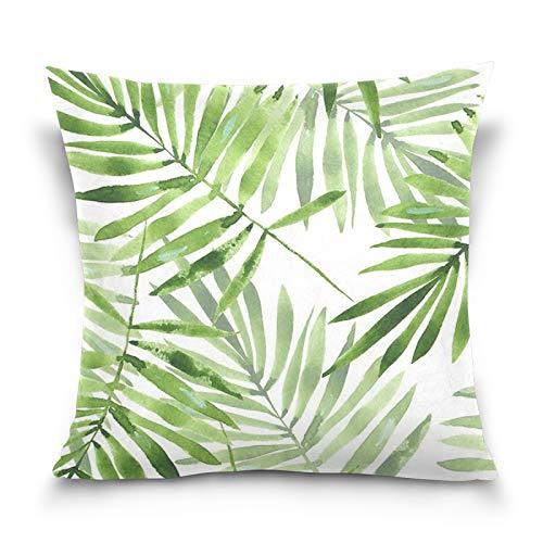 Ahomy - Federa decorativa per cuscino con foglie di palma tropicale acquerello, quadrata, per divano, auto, camera da letto, 100 x 100 cm