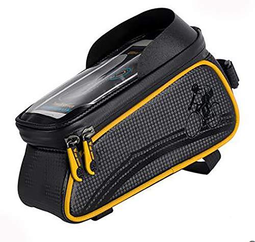 Bolsa de Movil Bicicleta Manillar,Soporte Impermeable Accesorios Bicletas Porta Bike Montaña Frame Bag,Táctil de Tubo Superior Delantero,para Teléfono Inteligente Bolsa de biciclet-Amarillo 20x8.2x10c