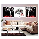 Bxygml Pinturas abstractas de la Lona del Arte de la Naturaleza Muerta en Blanco y Negro Hermoso Paisaje del árbol Moderno Comedor Imagen Decoración -60x60cmx3Pcs Sin Marco