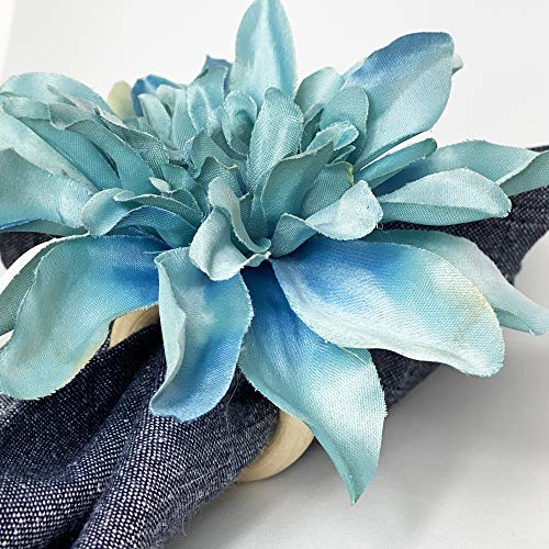 Blue flower napkin ring. set of 4. This rustic napkin ring set is great to decor your elegant table. Handmade rustic napkin rings come in a set of 4