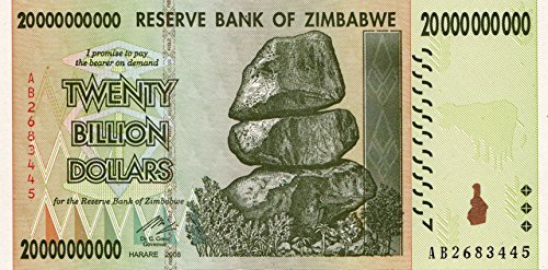 Zimbabwe 20 billion bill money billet dollar inflation record currency note