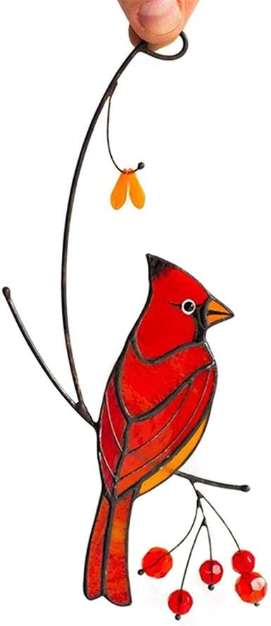 Home and Car Decoration Valentines Day Pair of Cardinal Bird Stained Glass Ornament Window Hanging Suncatcher Ornament Decoration