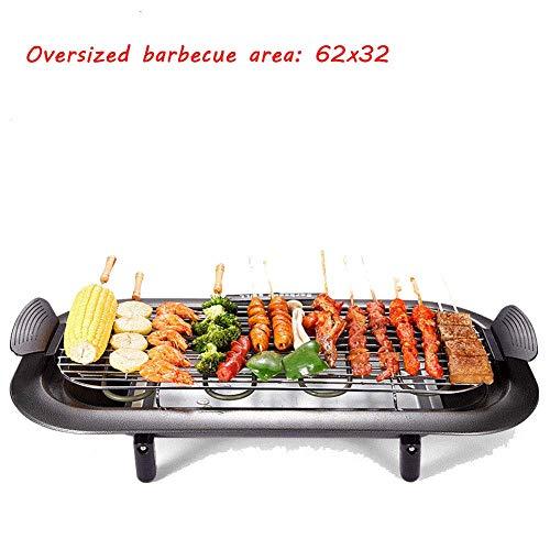 Baibao Elektro-Grill Innen Nonstick Smokeless Elektro Teppanyaki Tisch mit Fettauffangschale Einstellbare Temperatur und Cool-Touch-Handgriffe, mit Extra Large Oberfläche 32X62cm, Schwarz