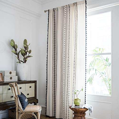 ARTBECK Bohemian Cotton Linen Curtains with Tassels Geometric Print Farmhouse Boho Window Curtains for Living Room Rod Pocket Drapes 1 Panel (59W x 87L, Black)
