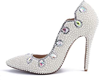 Women's High Heels Wedding Shoes, Stiletto Heel High 10.5Cm Pearl Rhinestone Shallow Mouth Pointed High Heels Sexy Non-Abrasive Feet Suitable for Banquet Wedding