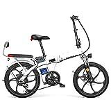 250W Bicicleta Eléctrica Plegable, Material De Acero Al Carbono Montaña Nieve E-Bike Ciclismo De Carretera, Neumático Gordo De 20 Pulgadas, 7 Velocidad Variable,Blanco,55KM