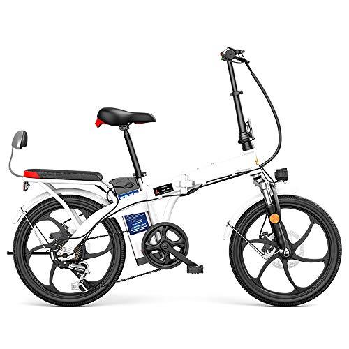 Elektrofahrräder E-Bike, E-Faltrad Kilometerstand 24-80Km Höchstgeschwindigkeit 20 Km/H Elektro Klappfahrrad Rad, 7 Austauschsystem 20 Zoll Elektro-Fahrrad 250W/48V Motor Liionen Akku,Weiß,55KM