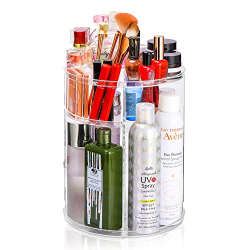 Adjustable Cosmetic Organizer Cosmetics Countertop - Rotating Makeup Storage Acrylic Multi Accessories Organizers Fits Jewelry Toiletry Bathroom (Clear)