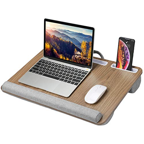 HUANUO Lap Desk - Fits up to 17 inches Laptop, Built in Wrist Pad for Notebook, Tablet, Laptop Stand with Tablet, Pen & Phone Holder