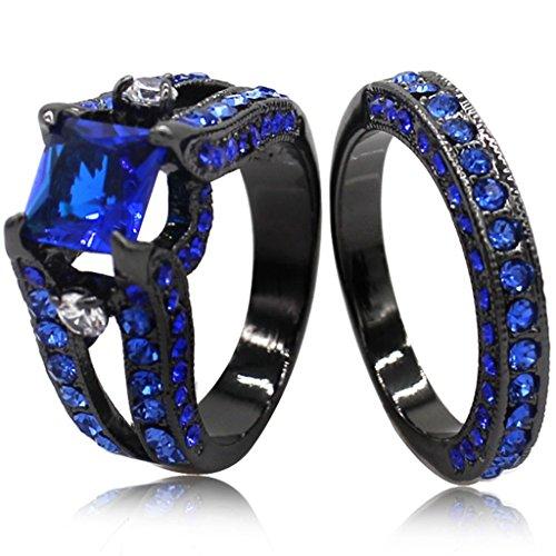 Negro Azul Corte Princesa circonitas cúbicas Juego de anillos de boda