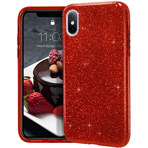 "MATEPROX iPhone Xs Max case,Bling Sparkle Cute Girls Women Protective Case for iPhone Xs max 6.5"" (Red)"
