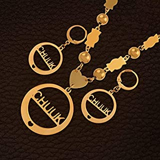 LTH12 Jewelry Sets - Anniyo Chuuk Beads Pendant Necklaces Earrings Sets Gold Color Ball Jewellery Trendy Islands Gifts #128306 1 PCs