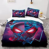WSFST Parure De Lit Spiderman 220x240 Cm avec 2 Taie d'oreiller 65x65 Cm - Housse De Couette 2 Personnes avec Fermeture Éclair - Sets De Housse Couette en Microfibre