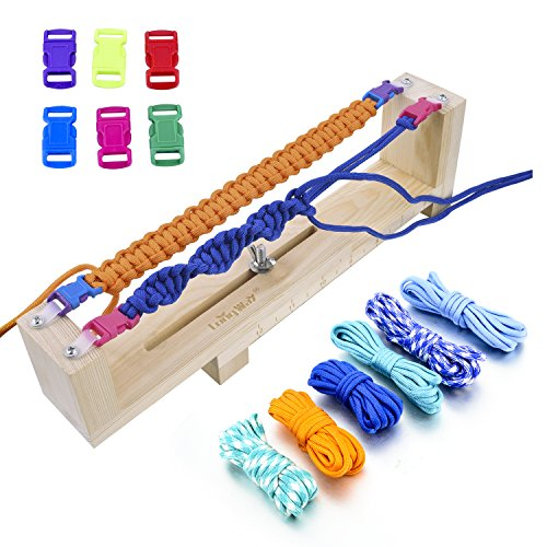 Long Way Jig Bracelet Maker with Parachute Cord, Wristband Maker - 6 parachute cords and 6 quick release buckles - Paracord Braiding Weaving DIY Craft Tool Kit - Heavy Duty Buckles